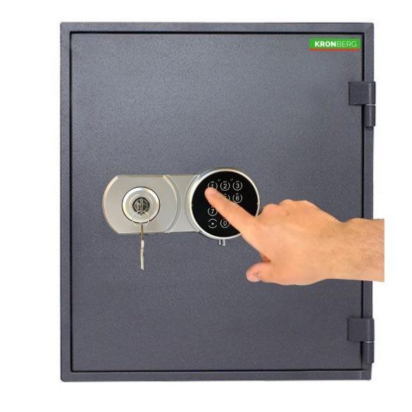 Kronberg Fire51 tűzálló páncélszekrény kulcsos és elektronikus zárral 510x445x425mm