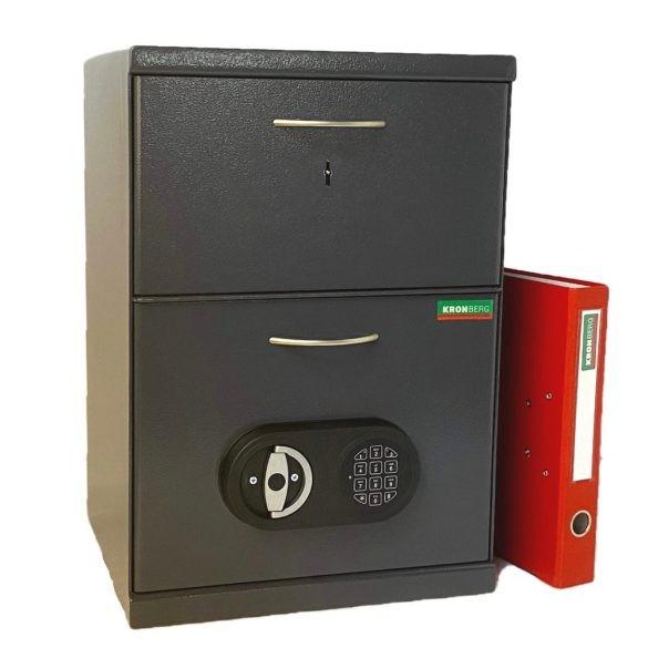 Kronberg550 Cashier dupla fiókos páncélszekrény kulcsos és elektronikus zárral 550x380x350mm