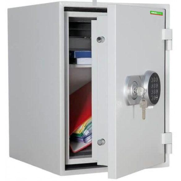 Kronberg Fire51 világosszürke tűzálló páncélszekrény kulcsos és elektronikus zárral 510x445x425mm