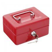 Traun1 pénzkazetta kulcsos zárral piros színben 85x150x130mm