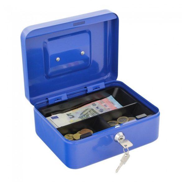 Traun2 pénzkazetta kulcsos zárral kék színben 90x200x165mm