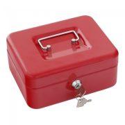 Traun2 pénzkazetta kulcsos zárral piros színben 90x200x165mm