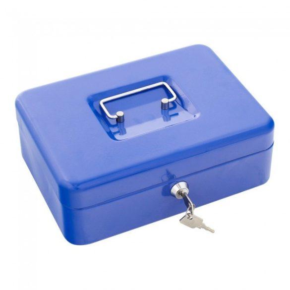 Traun3 pénzkazetta kulcsos zárral kék színben 90x250x185mm