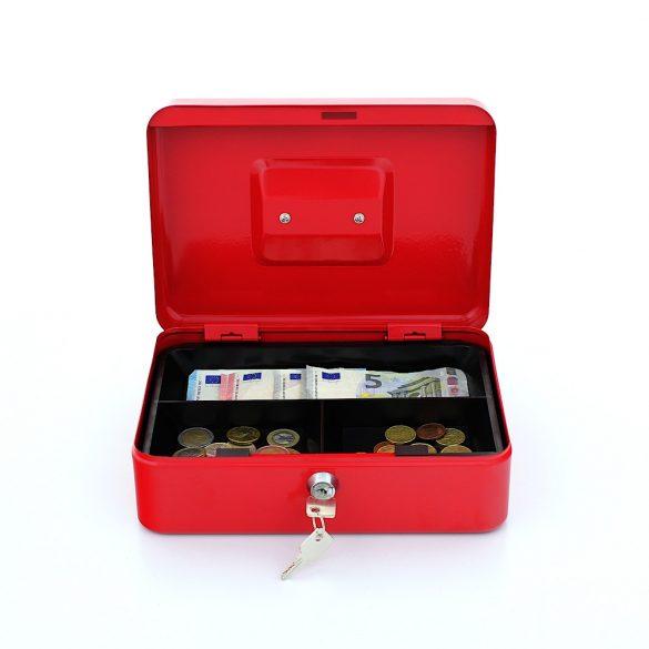Traun3 pénzkazetta kulcsos zárral piros színben 90x250x185mm