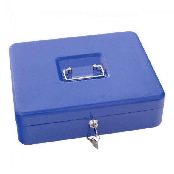 Traun4 pénzkazetta kulcsos zárral kék színben 90x300x245mm