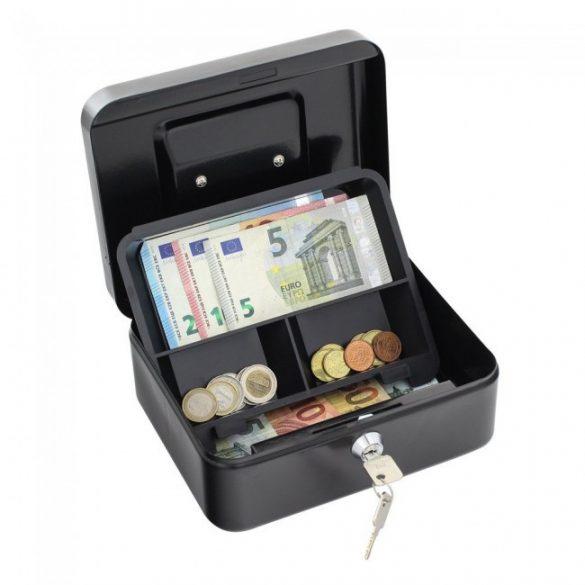 Traun2 pénzkazetta kulcsos zárral fekete színben 90x200x165mm