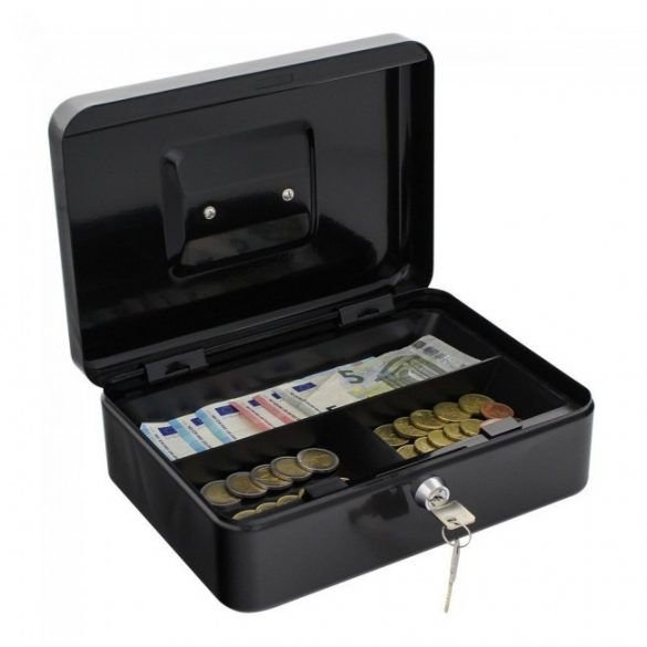 Traun3 pénzkazetta kulcsos zárral fekete színben 90x250x185mm