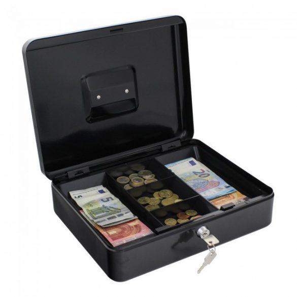 Traun4 pénzkazetta kulcsos zárral fekete színben 90x300x245mm