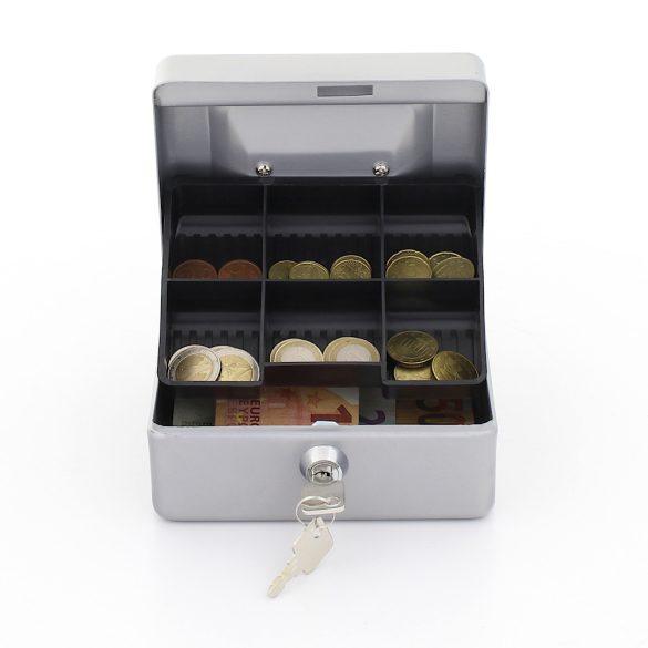 Traun1 pénzkazetta kulcsos zárral ezüst színben 85x150x130mm