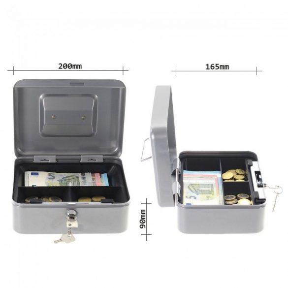 Traun2 pénzkazetta kulcsos zárral ezüst színben 90x200x165mm