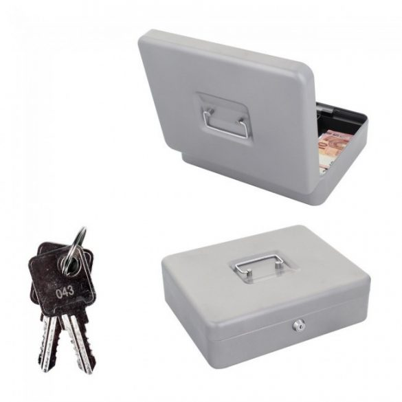 Traun4 pénzkazetta kulcsos zárral ezüst színben 90x300x245mm