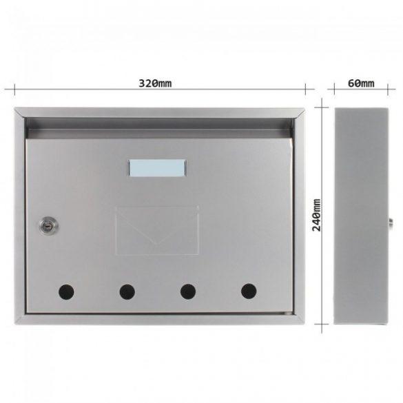 Imola postaláda ezüst színben 240x320x60mm