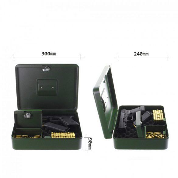 GunBox fegyvertároló kazetta kulcsos zárral 300x240x90mm