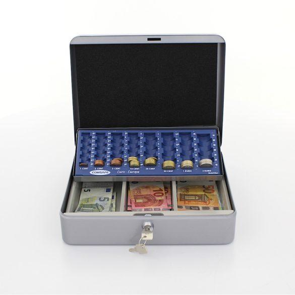 HomestarCash euro pénzkazetta kulcsos zárral ezüst színben 90x300x240mm