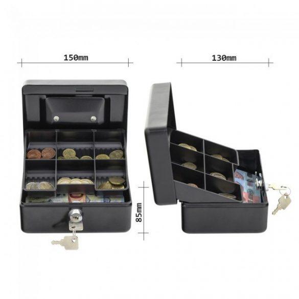 HomestarCash1 pénzkazetta kulcsos zárral fekete színben 85x150x130mm