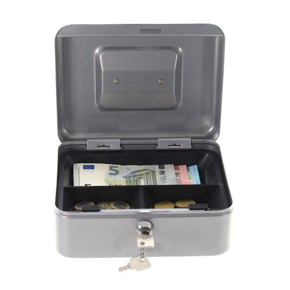 HomestarCash2 pénzkazetta kulcsos zárral ezüst színben 90x200x165mm