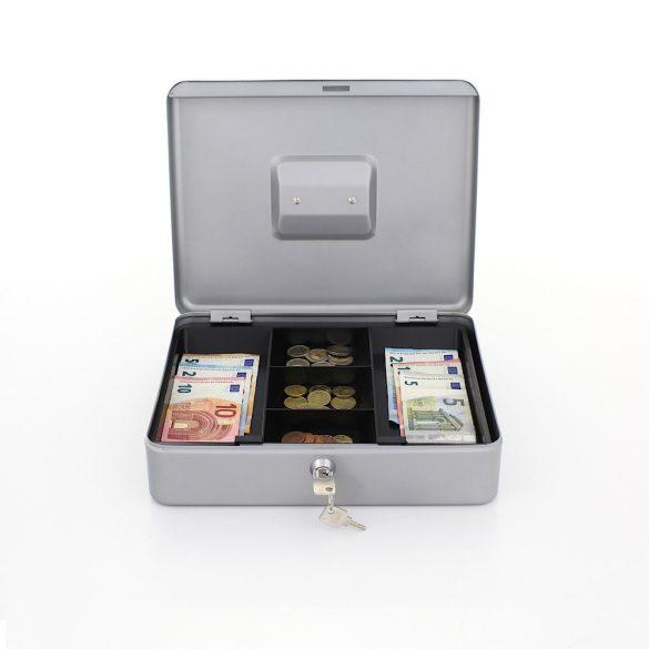 HomestarCash4 pénzkazetta kulcsos zárral ezüst színben 90x300x245mm