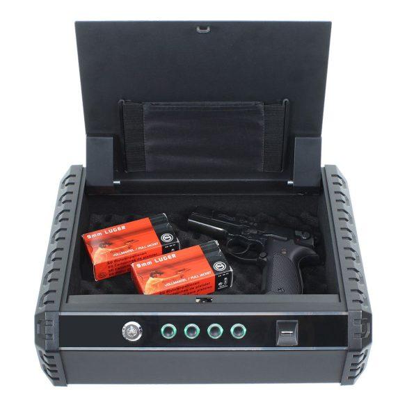 Gunmaster XL fegyverkazetta kulcsos és ujjlenyomatolvasó zárral 100x370x275mm