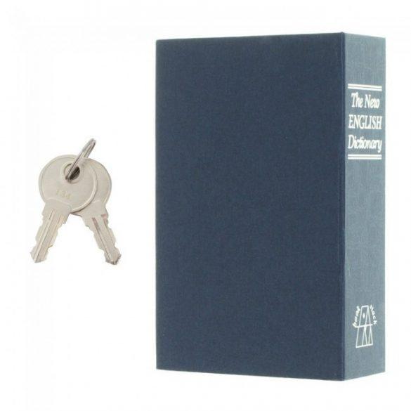 Bookcase kék könyv alakú értékkazetta kulcsos zárral 182x116x52mm