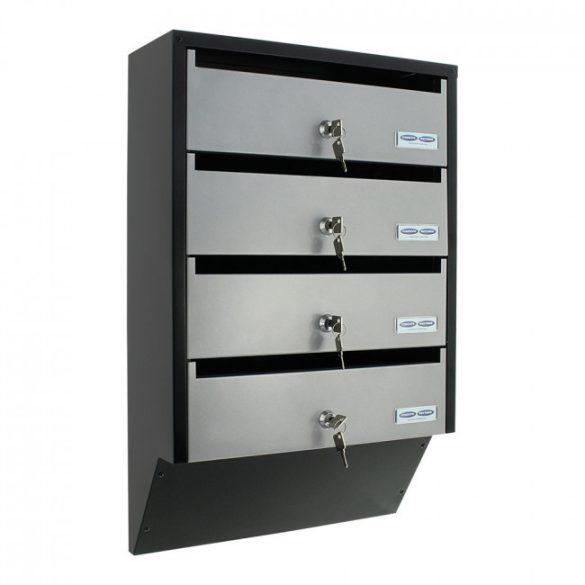 Depot4 tömbösített postaláda fekete és ezüst színben 600x385x140mm