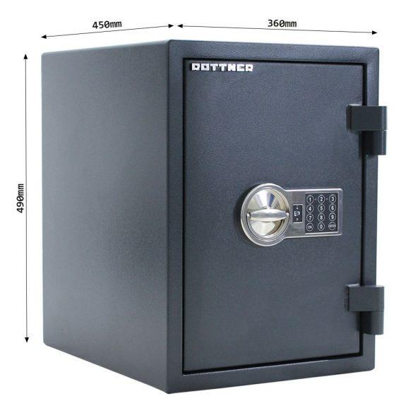Rottner FireHero50 tűzálló és betörésbiztos páncélszekrény elektronikus zárral 490x360x450mm