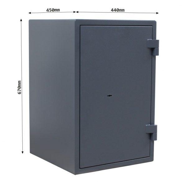 Rottner FireHero65 tűzálló és betörésbiztos páncélszekrény kulcsos zárral 670x440x450mm