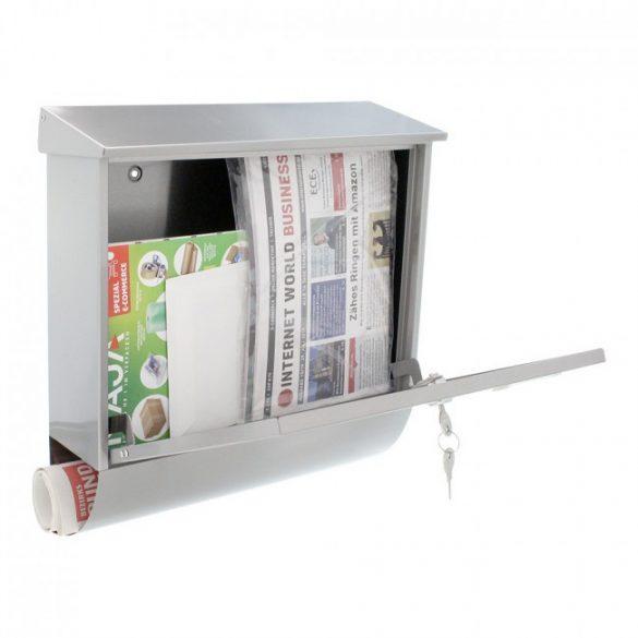 Expo Inox nemesacél postaláda újságtartóval 410x385x120mm