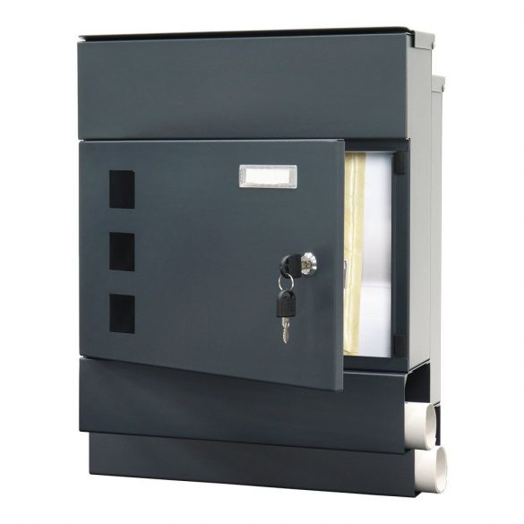 Globe postaláda antracit színben kulcsos zárral 425x365x110mm