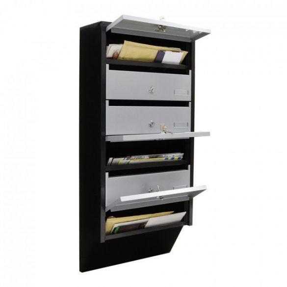 Depot6 tömbösített postaláda fekete és ezüst színben 824x385x140mm